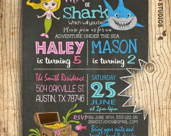 Mermaid & shark sibling invitation- Dual birthday invitation - girl boy twins birthday invitation with mermaid and shark- summer pool party