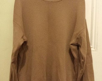 Genuine Rib Neck Vintage Men's Woollen Camel Jumper Made in Australia