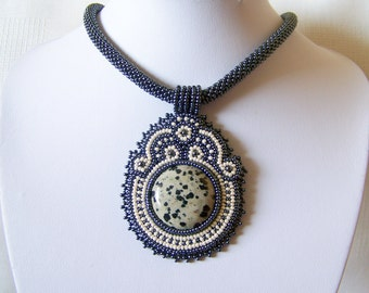 Beadwork Bead Embroidery Pendant Necklace with Dalmatian jasper - CREAMY BLOSSOM - light creamy - grey - hematite - bead sutache necklace