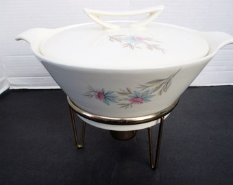 Steubenville Pottery Fairlane Pattern - Covered Casserole Vegetable Dish with Brass Warmer
