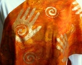 Golden Spiral Hands Silk Scarf.  Deep Orange, Maroon, Honey & Saffron Scarf. 15x60 inch Silk Wrap Hand Dyed. Hand Painted Orange Silk Scarf.