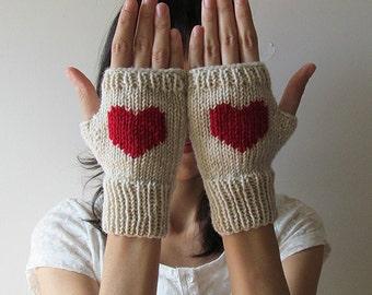 Hand Knit Fingerless Gloves in Mushroom Beige - Dark Red Embroidered Heart - Seamless - Wool Blend - Made to Order