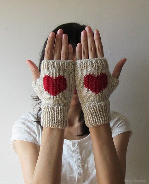 Hand Knit Fingerless Gloves in Mushroom Beige - Dark Red Embroidered Heart - Seamless - Wool Blend - Made to Order