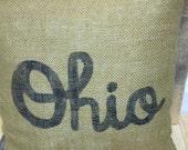Burlap Script Ohio Pillow