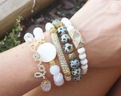 Womens Gold Pave Metal BAR, Pyramid, Love, Clear, Dalmation, Neutral White Agate Gemstone Pearl Shell Bead Stretch Boho Stack BRACELET SET