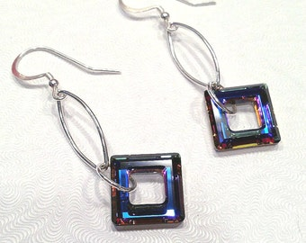 Long Dangle Earrings Square Earrings Swarovski Crystal Earrings Beaded Jewelry Long Silver Earrings Large Crystal Earrings