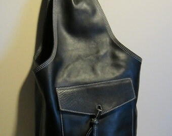 Great XXL leather shoulder bag, black supple leather, excellent condition