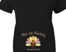 Thanksgiving Maternity Shirts, Our Lil' Turkey Chevron Maternity Shirts forThanksgiving In Black