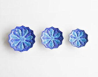 Traditional Persian Minakari decorative plates- set of 3 blue Mina enameled wall hangings- blue wall decor- table decor- decorative dish