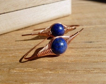 Lapis earrings, Wire wrapped natural lapis earrings, Handmade copper jewelry
