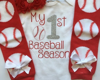 Baby Girl Baseball Outfit- My 1st Baseball Season - baseball outfit - baseball bodysuit - base ball leg warmers- choose your pieces