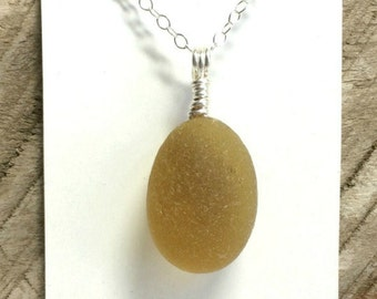 "English Sea Glass ""Bubble"", Sea Glass Necklace, Sea Glass Jewelry, Honey Colored Seaham Beach Glass, Beach Glass Necklace"