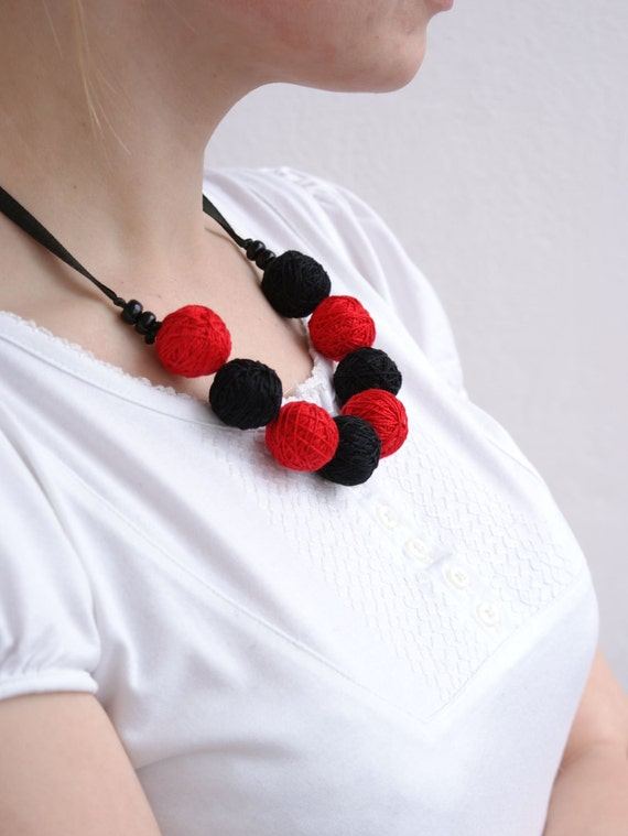 Black red bracelete of a thread cotton for women lace textile necklace colorful christmas
