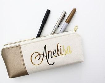Monogram Pencil Pouch, Zipper Pouch, Pencil Case - Natural - Metallic gold faux leather