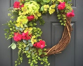 Pink and Green, Spring Wreaths, Spring Trends, Pink and Green Wreaths, Spring Door Decor, Summer Wreath, Floral Wreaths Pink, Spring Floral
