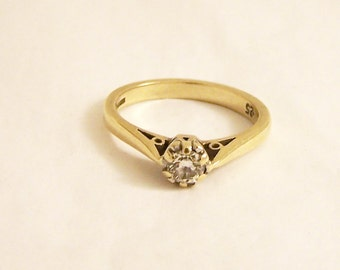 Vintage 9ct Gold Diamond Ring, 9ct Ring, 0.25ct Diamond Ring, Engagement Ring, Solitaire Diamond Ring, Size 6.25, Size M