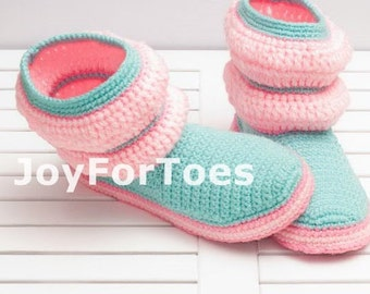 Womens Boots Baby Mint Pink Shoes Crochet Slippers Crocheted Boots Slippers joyfortoes for the Home Cozy house shoes Unisex Boots Home Clogs