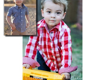 Charlie Button Up PDF Pattern instant download size 1/2-8