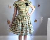 The Into the Woods Dress. XS S M L XL, Petite - Tall. Green, Brown & Orange on Pale Yellow Camping Print. Fall.