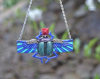 Egyptian scarab pendant with red pyramid, egyptian revival jewelry, colorful scarab necklace enameled hand painted