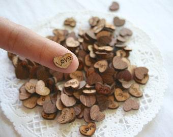 LOVE Wooden HEARTS Confetti, Wedding Decor, Rustic, Tiny Wood Hearts, Wedding