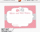 Pink Elephant Advice Cards Baby Shower games - printable - Advice and wishes for baby shower Baby Girl Pink and Grey Cute Elephant