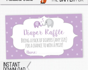 Diaper Raffle Purple Elephant Raffle Ticket Baby Shower insert card - printable - Polka Dot Baby Girl Purple and Grey Cute Elephant