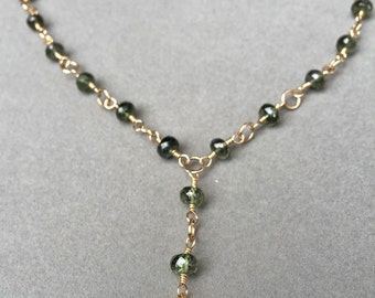 Gold heart with green quartz necklace