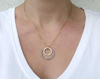 Double circle necklace, Silver circle pendant necklace, Mixed metal necklace
