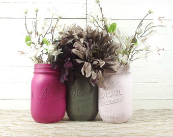 Bridal Shower Centerpiece, Bridal Shower Decor, Pink Mason Jars, Mason Jar Decor, Bridal Shower Decorations, Flower Vase, Rustic Decor