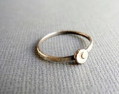 Oxidized Recycled Silver Crescent Moon Ring, Silver Moon Stacking Ring, Hand Stamped Jewelry, Eco Friendly Ring