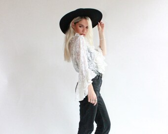 Vintage 70s Lace Ruffle Bell Sleeve Top