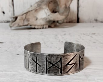 Viking Rune Cuff Sterling Silver Bracelet - Custom Made to Order Personalized - Elder Futhark Nordic Amulet Talisman - Handcrafted Forged