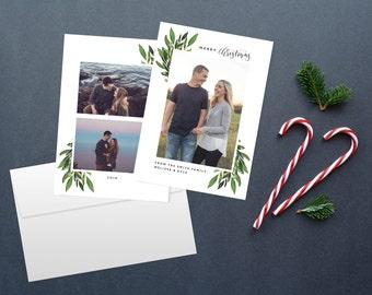 Christmas card set, double sided christmas card, multiple photo card calligraphy christmas card holiday cards, custom christmas card
