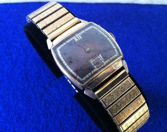 Vintage Men's, HARVEL Swiss Watch, 1940s, 10K Rolled Gold, Copper & Gold Tone Dial, Roman Numerals, 17 Jewels, Sub Seconds, FREE SHIPPING
