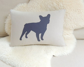 French Bulldog Pillow Cover - Flax Linen & Charcoal Gray Frenchie Appliqué