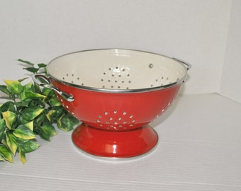 "Vintage Red and Ivory Enamelware 9"" Colander Strainer Sieve, Red 2-Tone Enamelware Silver Trim, Farmhouse Rustic Kitchen Decor  CLEARANCE"