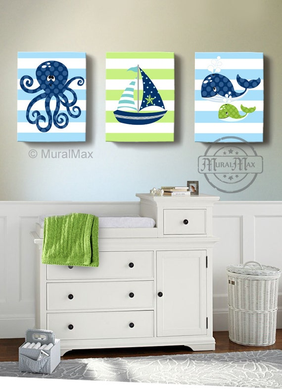 Nautical Baby Boy Room: Nautical Boy Nursery Decor Sailboat Octopus Whale Canvas Art