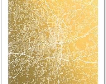Winston-Salem Map, Winston-Salem Print, Winston-Salem, NC Gold Foil Print, Map Wall Art, Gold Foil Map, Map Decor, Golden Map
