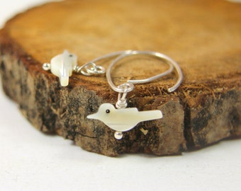 Hammered Sterling Silver bird earrings, mother of pearl birdd , handmade Silver jewelry, bohemian ethnic style dangle earrings, cream color