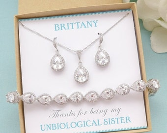 SALE Personalized Bridesmaid Gift, Bridal Earrings and Necklace Set, Bridesmaid Jewelry Set, Bridal Bracelet, Wedding Jewelry, Mother of Bri