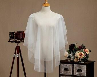 Ivory Tulle Wedding Jacket, Lace Bridal Jacket, Tulle Wedding Cover, Lace Wedding Shawl, Lace Bridal Shawl, Lace Bridal Shrug