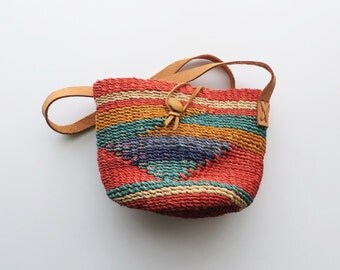 70s Colorful Woven Jute Bag Sisal Leather Crossbody