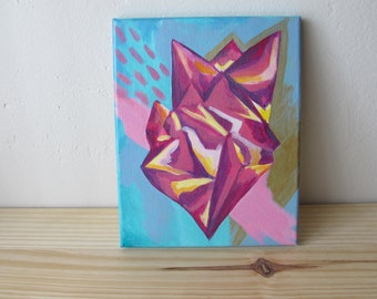 "Abstract Crystal Painting // 8 x 10"" Acrylic on Canvas"