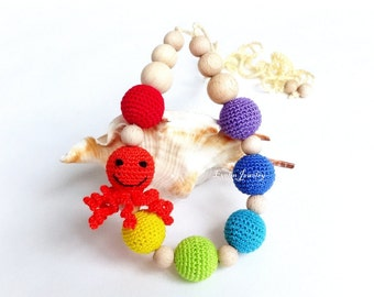 Rainbow Octopus Nursing Necklace Crochet Breastfeeding Colorful Teething necklace Slinging mom Baby shower gift