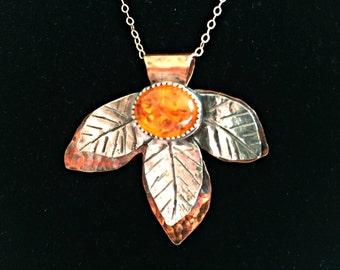 Forest Fantasy - Baltic Amber Leaf Pendant