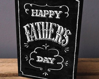 Father's Day Card - Card For Dad - Card For Father's Day - Dad Card - Happy Father's Day - Chalk Art - Blackboard Card - Greetings Card