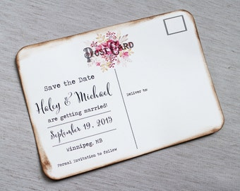Rustic save the date postcard   Etsy