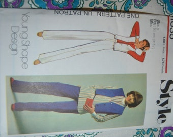Style 1835 MIsses Waistcoat Shirt and Trousers Sewing Pattern - UNCUT -  Size 8 or Size 10 or Size 12 or Size 14 or Size 16