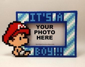 Baby Mario or Luigi Picture Frame - It's A Boy Picture Frame - Baby Shower Gift - It's A Boy - Nerdy Baby Shower - 8 Bit Baby Shower